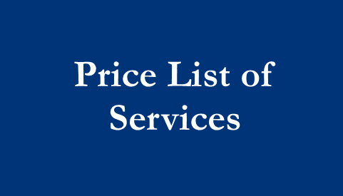 Price List of Services